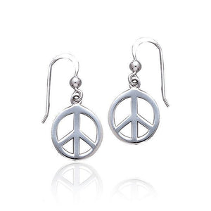 Peace Sign Silver Dangle Earrings TE2628 peterstone.