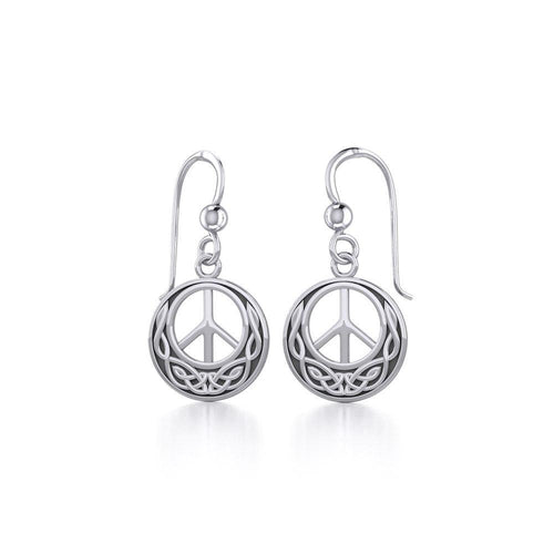 Celtic Knotwork Peace Silver Earrings TE2631 peterstone.