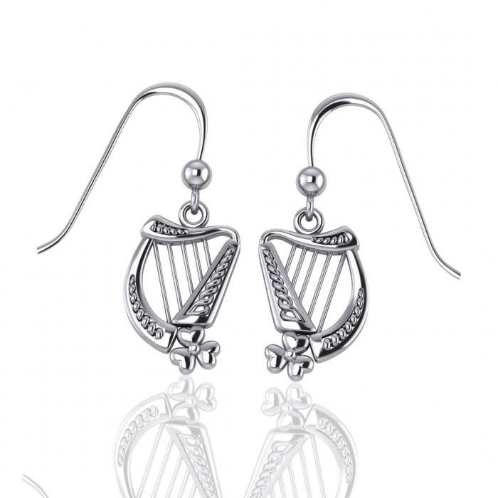 73a2bf025 Celtic Knotwork Silver Harp Earrings – Peter Stone Jewelry