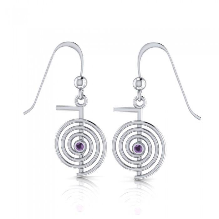 Reiki Spiral Silver Earrings TE2902