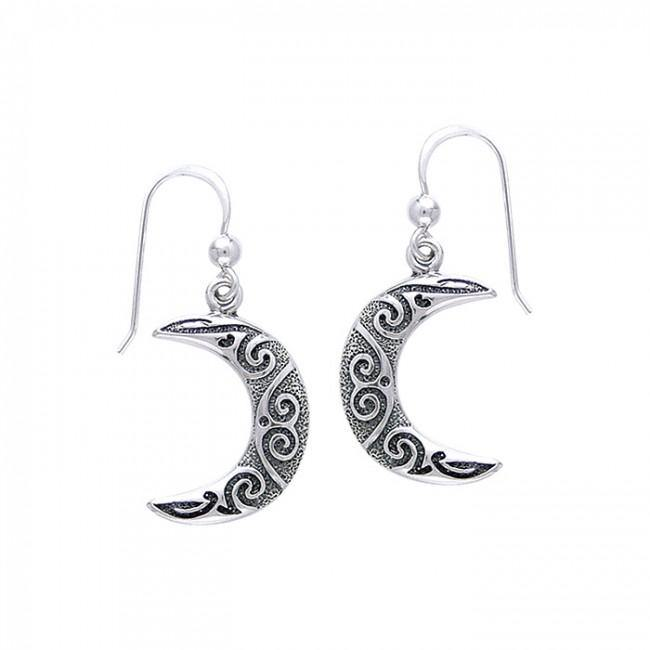 Celtic Spiral Moon Earrings TE2915