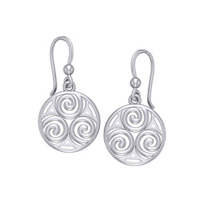 Celtic Single Spiral Silver Earrings TE855