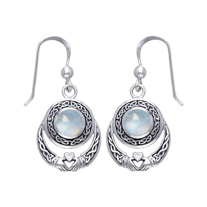Celtic Knotwork Silver Claddagh Earrings
