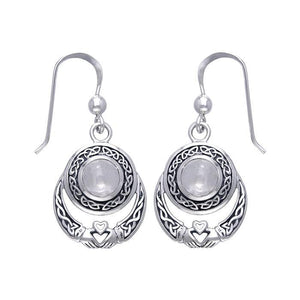 Celtic Knotwork Silver Claddagh Earrings TER070 peterstone.