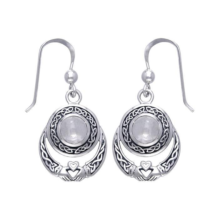 Celtic Knotwork Silver Claddagh Earrings TER070