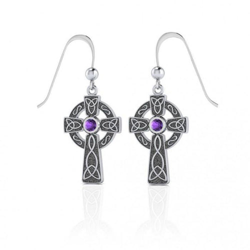 A beautiful statement of pride and faith ~ Sterling Silver Jewelry Celtic Cross Hook Earrings TER075 peterstone.