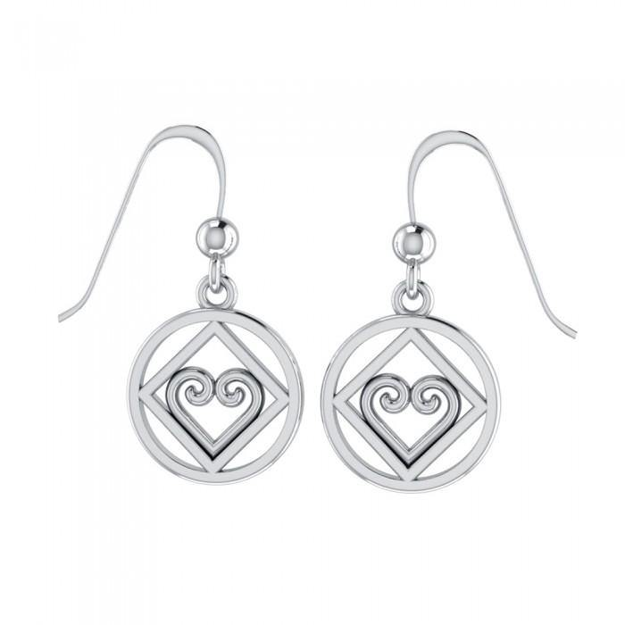 NA Recovery Heart Silver Earrings TER078 peterstone.