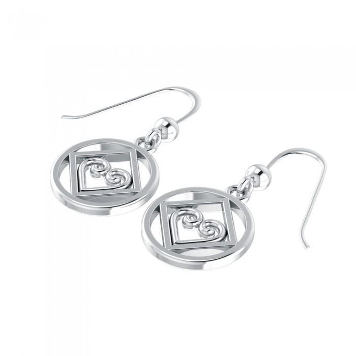 NA Recovery Heart Silver Earrings TER078