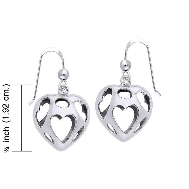 Bold Filigree Heart Silver Earrings TER1220 peterstone.