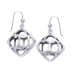 Square Bold Filigree Silver Earrings TER1221 peterstone.
