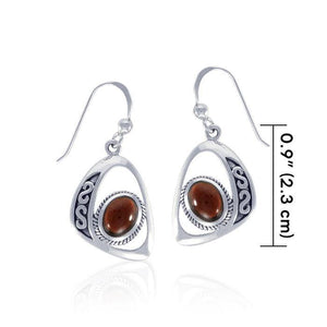 Modern Celtic Elegant Silver Earrings with Stone TER1241 peterstone.