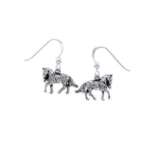 Brigid Ashwood Celtic Horse Silver Earrings TER1399 peterstone.