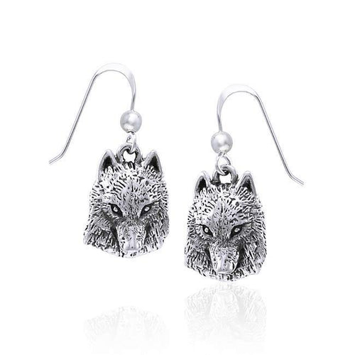 Wolf Head Silver Earrings TER1454 peterstone.