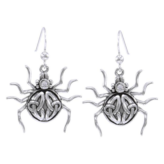 Spider with Triquetra Silver Earring TER1473