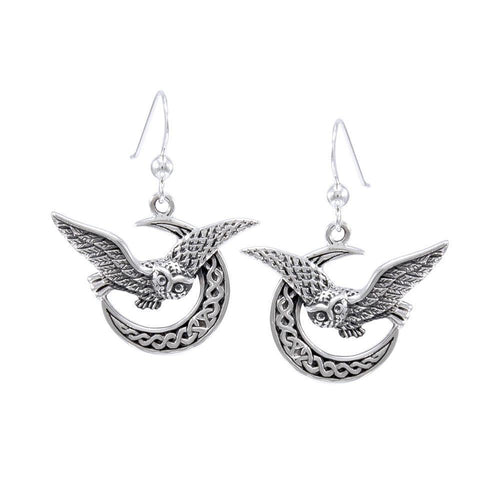 Celtic Owl on Crescent Moon Silver Earrings TER1489 - Peter Stone Jewelry
