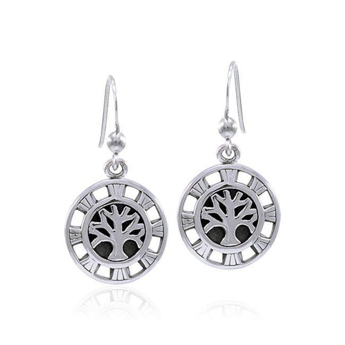Sun Tree of Life Sterling Silver Earrings TER1547 peterstone.
