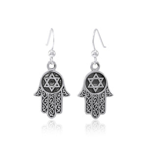 Hamsa Star of David Earrings TER1554 peterstone.