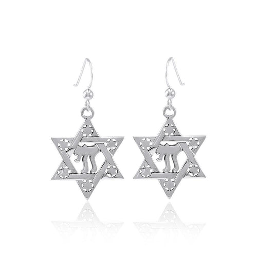 Chai Star of David Earrings TER1557 peterstone.