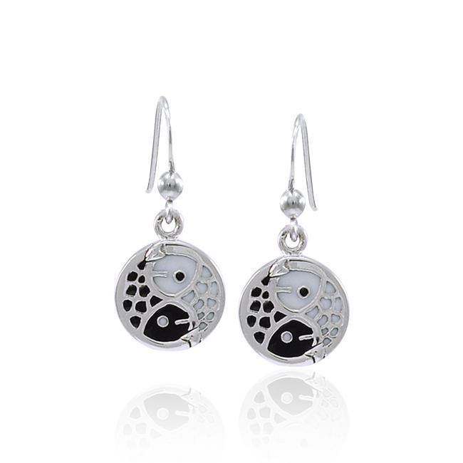Koi Fish Yin Yang Silver Earrings TER1591