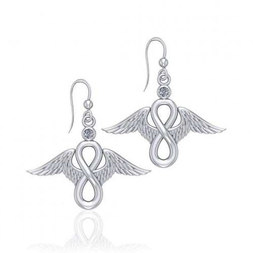 Angel Wings and Infinity Symbol with Gemstone Silver Earrings