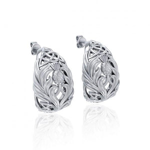 Celtic Thistle Sterling Silver Post Earrings