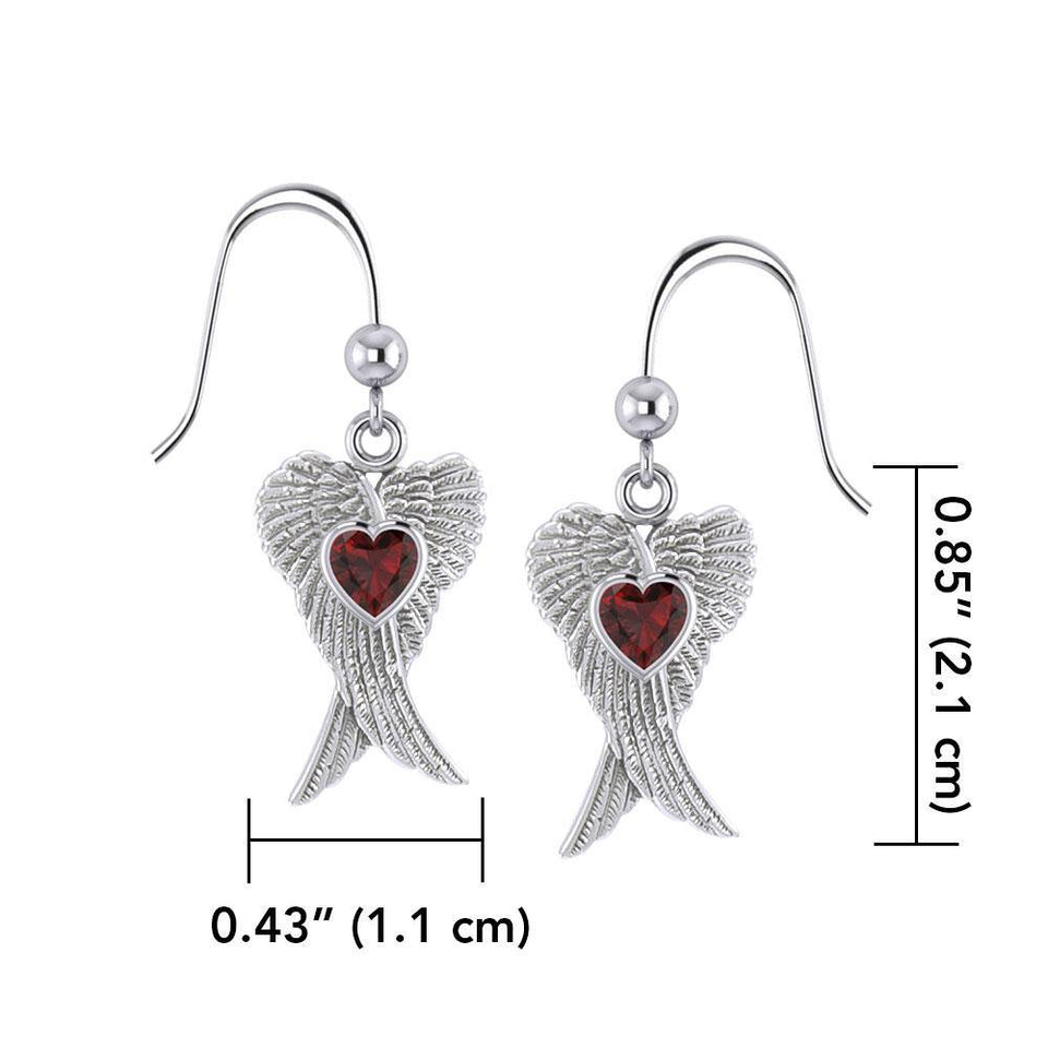 Heart Gemstone and Double Angel Wings Silver Earrings TER1744