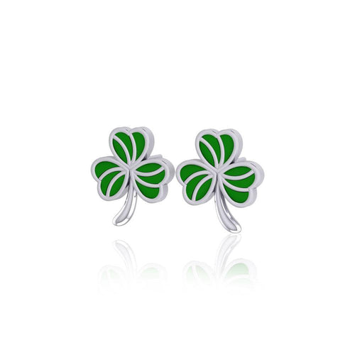 Shamrock with Green Enamel Silver Post Earrings TER1746