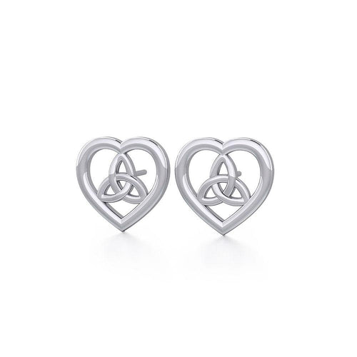 Heart with Trinity Knot Silver Post Earrings TER1755 peterstone.