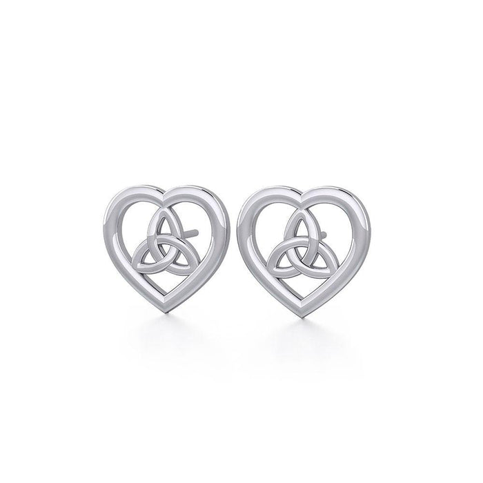 Heart with Trinity Knot Silver Post Earrings TER1755
