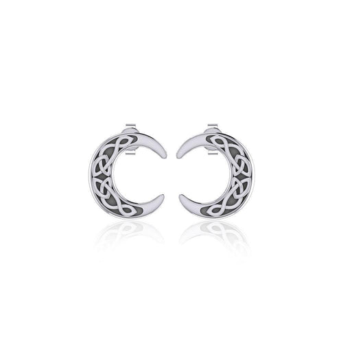Celtic Crescent Moon Silver Post Earrings TER1758