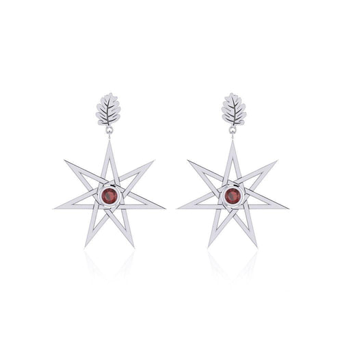 Dangling Gemstone Elven Star with Oak Leaf Post Earrings TER1764