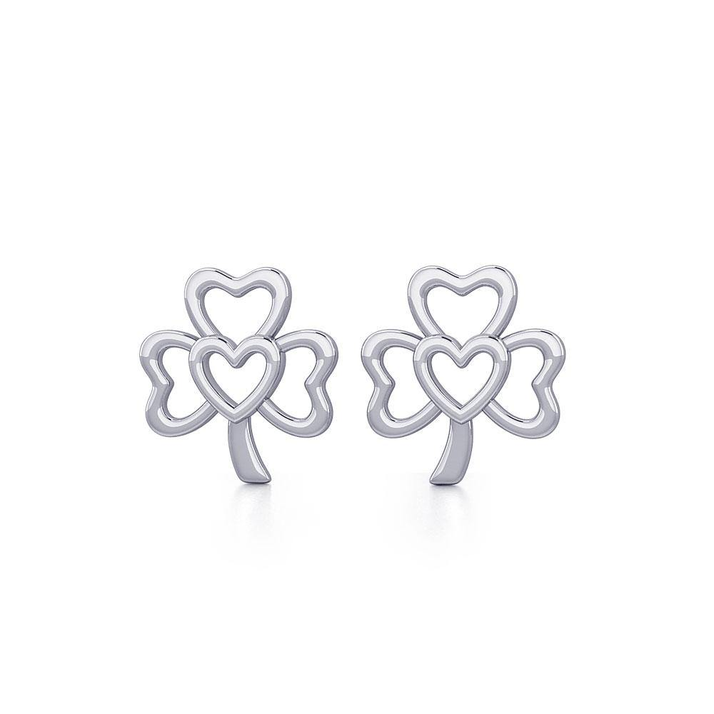 The Heart in Shamrock Silver Post Earrings TER1778 peterstone.