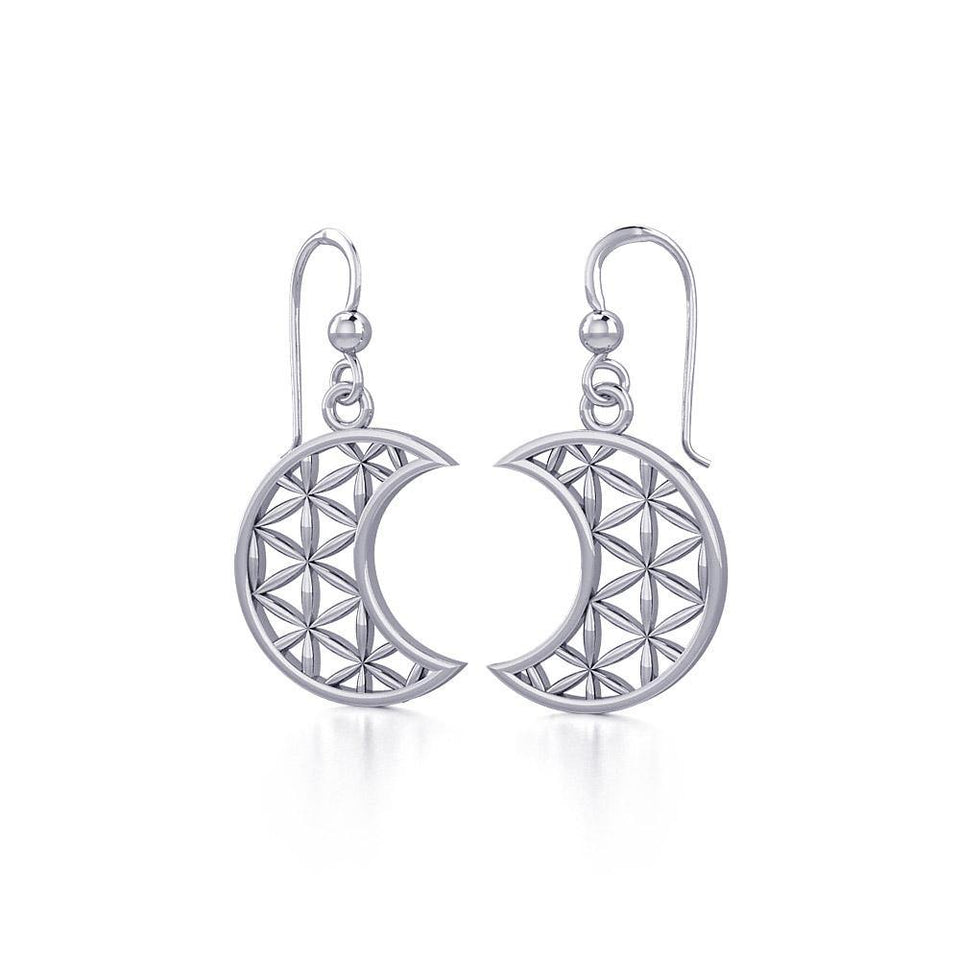 The Flower of Life in Crescent Moon Silver Earrings TER1780 peterstone.