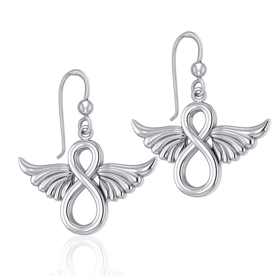 Angel Wings and Infinity Symbol Silver Earrings TER1781 peterstone.
