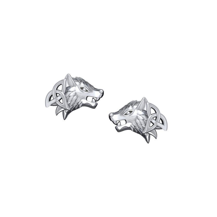 Wolves with Celtic Silver Post Earrings TER1789