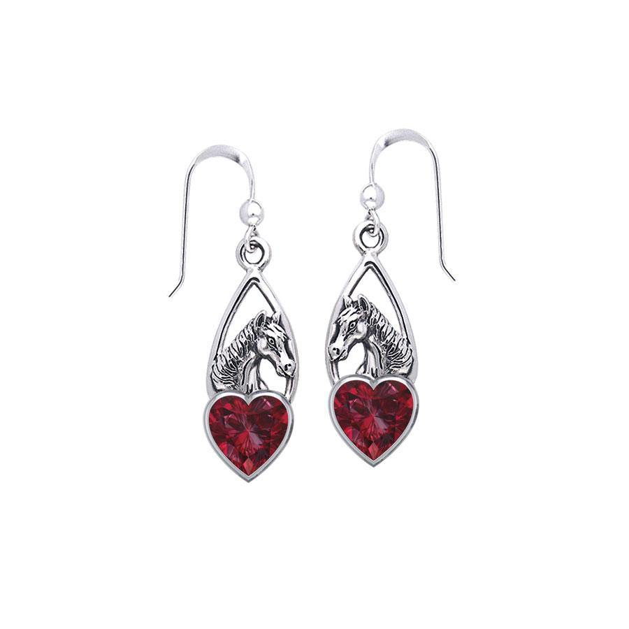 Horse Over Heart Gemstone Silver Earrings TER1791 peterstone.