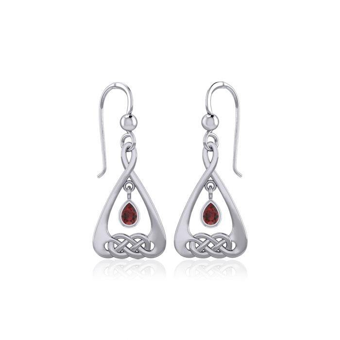Celtic Knot Silver Earrings  with Dangling Gemstone TER1794 peterstone.