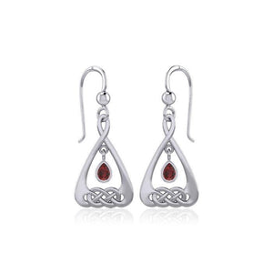 Celtic Knot Silver Earrings  with Dangling Gemstone TER1794