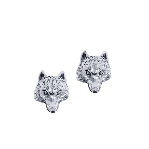 Wolf Head Silver Post Earrings TER1796 peterstone.
