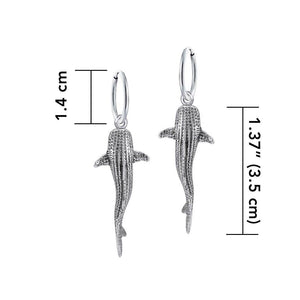 Small Whale Shark Silver Hoop Earrings TER1799 peterstone.