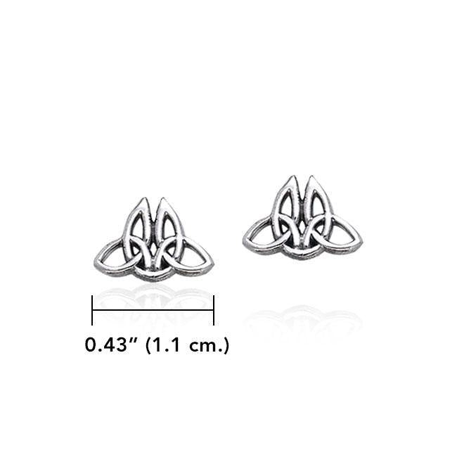 Celtic Twin Trinity Knot Silver Post Earrings TER1806 peterstone.