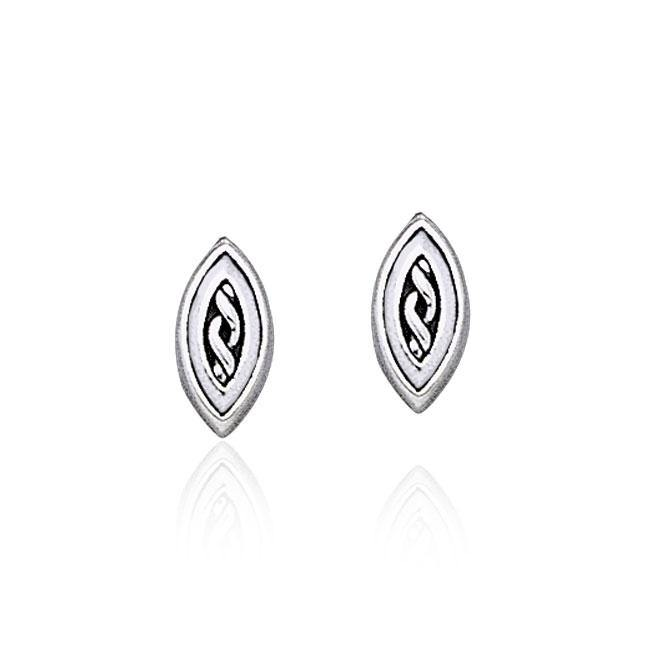 Celtic Knotwork Marquise Shape Silver Post Earrings TER1809