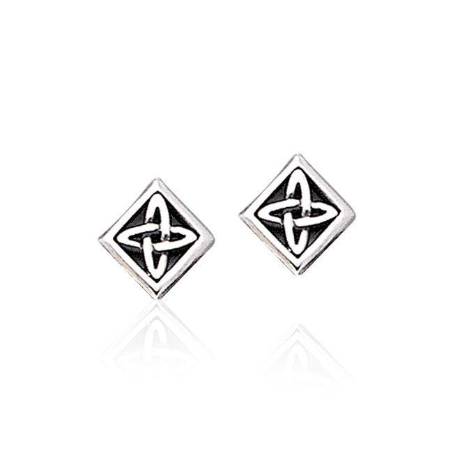 Celtic Knotwork Square Silver Post Earrings TER1810