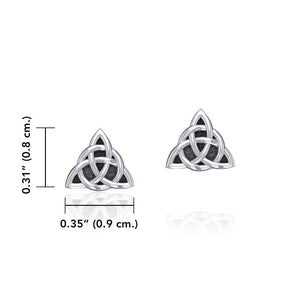 Small Triquetra Silver Post Earrings TER1814 peterstone.