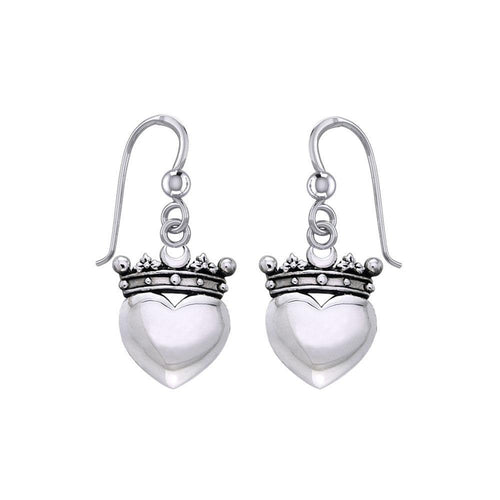 Cari Buziak Heart with Crown Silver Earrings TER1821 peterstone.