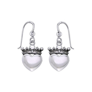 Cari Buziak Heart with Crown Silver Earrings TER1821