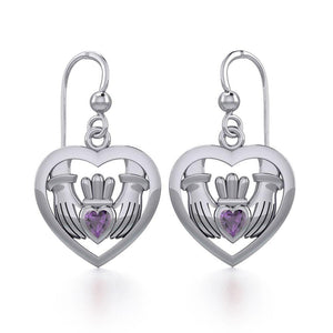 Claddagh in Heart Silver Earrings with Gemstone TER1826 peterstone.