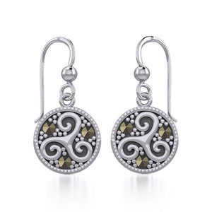 Celtic Spiral Triskele Silver Earrings with marcasite TER1827