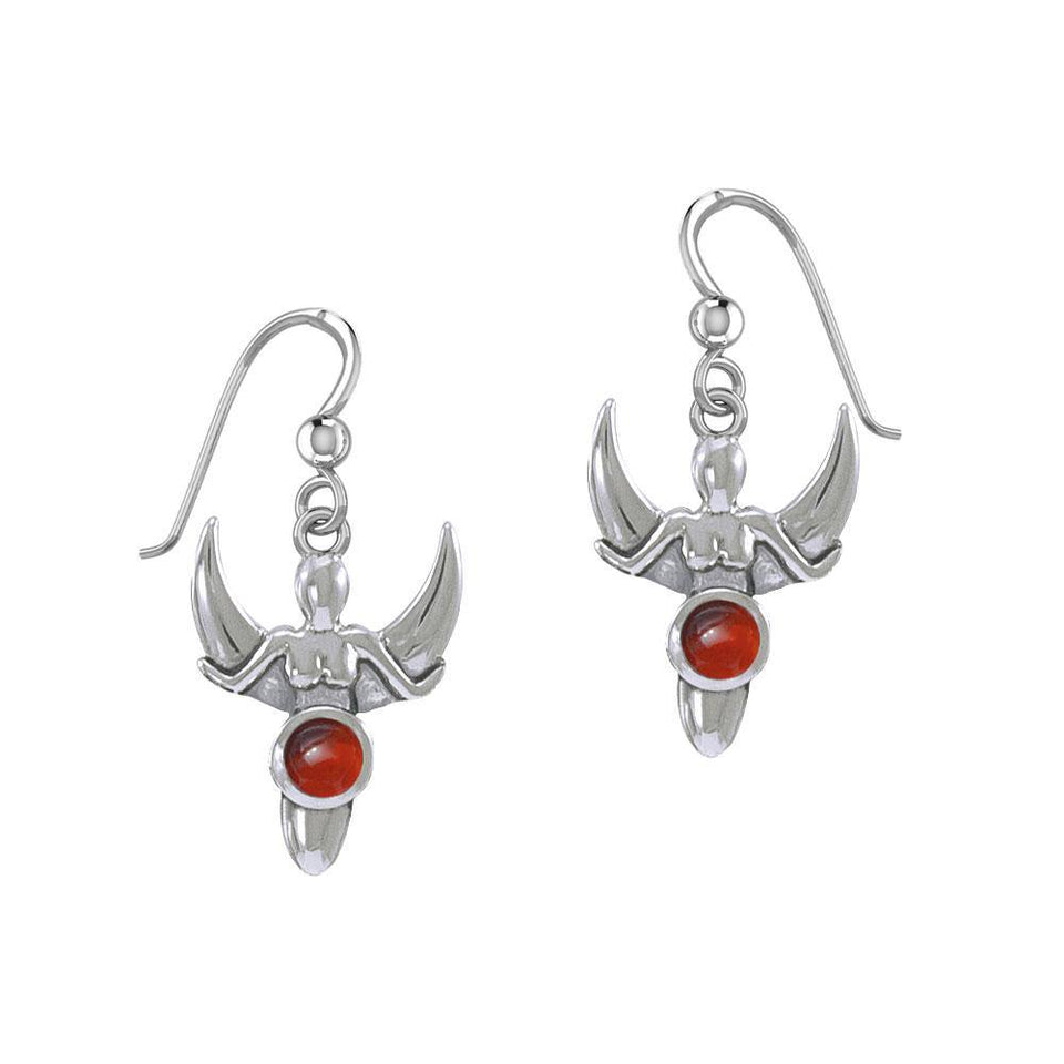 Goddess with Crescent Moon Silver Earrings with Gemstone TER1829