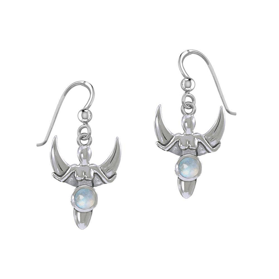 Goddess with Crescent Moon Silver Earrings with Gemstone TER1829 peterstone.